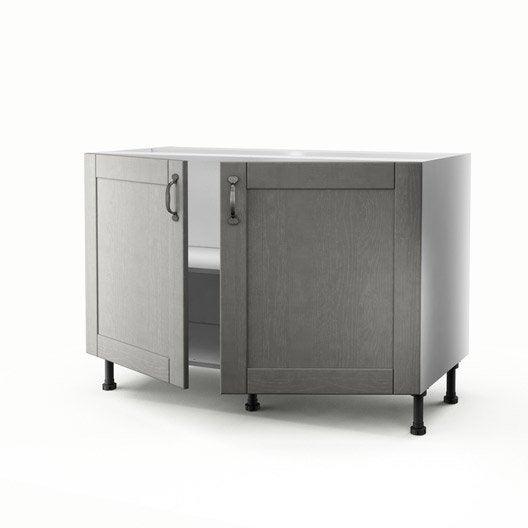 meuble de cuisine sous-évier gris 2 portes nuage h.70 x l.120 x p