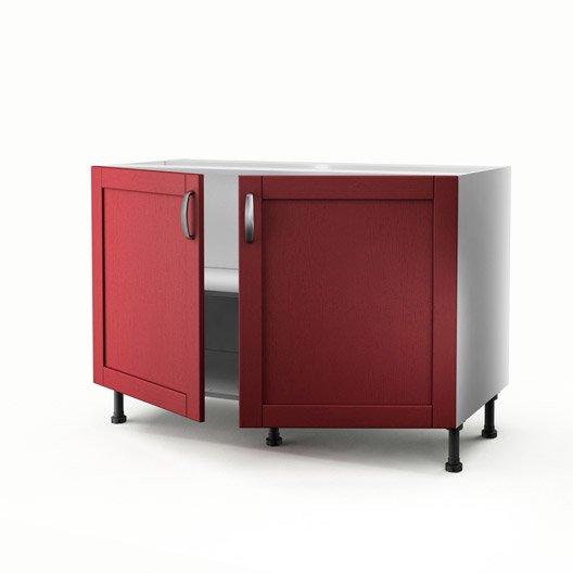 meuble de cuisine sous vier rouge 2 portes rubis x l. Black Bedroom Furniture Sets. Home Design Ideas