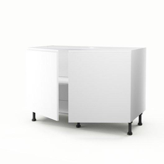 Meuble de cuisine sous vier blanc 2 portes graphic x x cm leroy merlin for Evier cuisine blanc leroy merlin