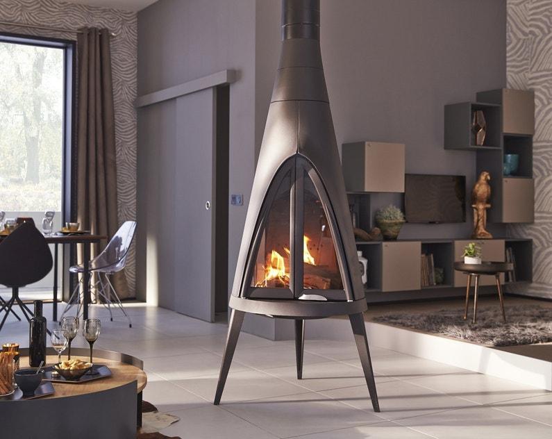 le po le bois au milieu du salon leroy merlin. Black Bedroom Furniture Sets. Home Design Ideas