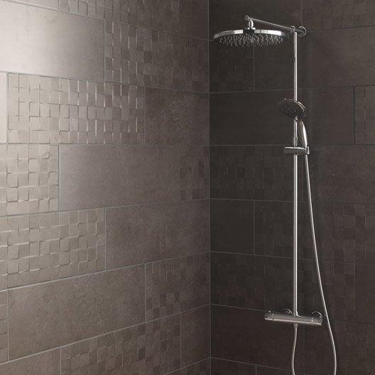 Fa ence mur gris fonc d cor vision cube x cm for Salle de bain carrelage bleu fonce