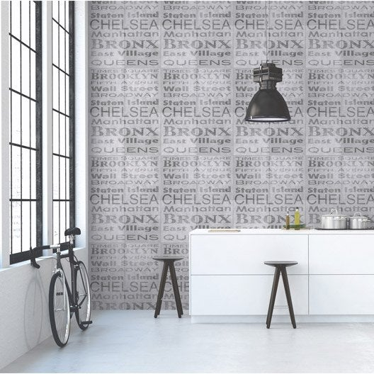 papier peint intiss b ton typo gris leroy merlin. Black Bedroom Furniture Sets. Home Design Ideas