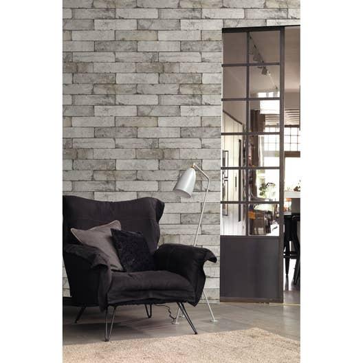 papier peint intiss brique gris clair leroy merlin. Black Bedroom Furniture Sets. Home Design Ideas