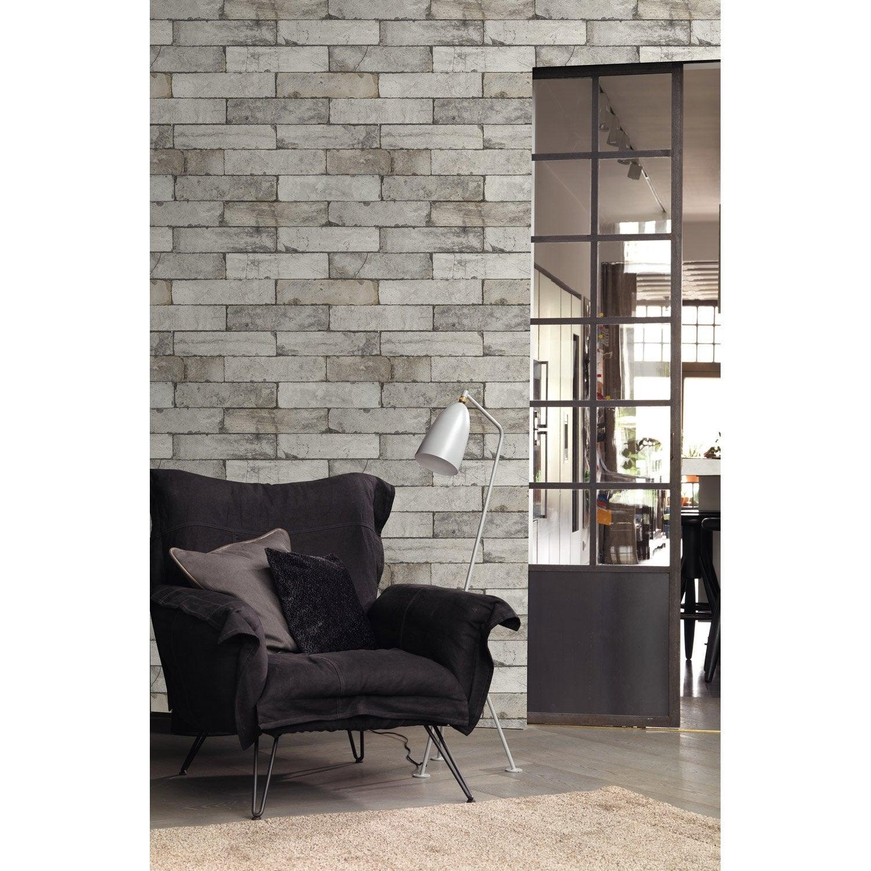 Papier Peint Vinyle Brique Factory Blanc Leroy Merlin