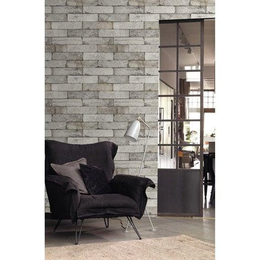 Papier peint intiss brique gris clair leroy merlin - Papier peint effet matiere ...