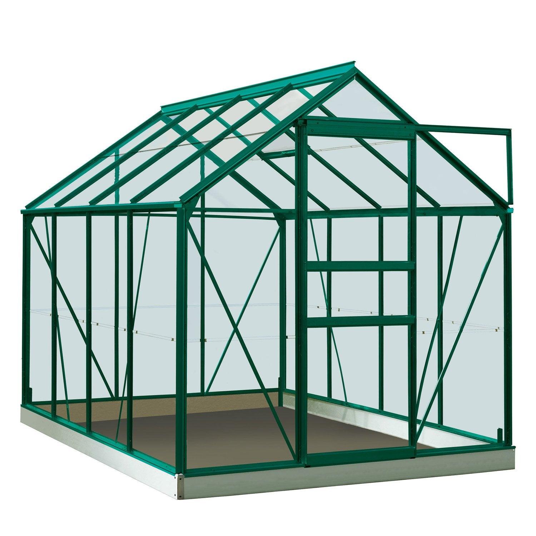 Serre de jardin en verre trempé Rainbow vert, 4.96 m² | Leroy Merlin
