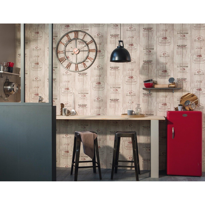 Papier peint boulangerie beige, rouge papier cuisine et bain | Leroy ...
