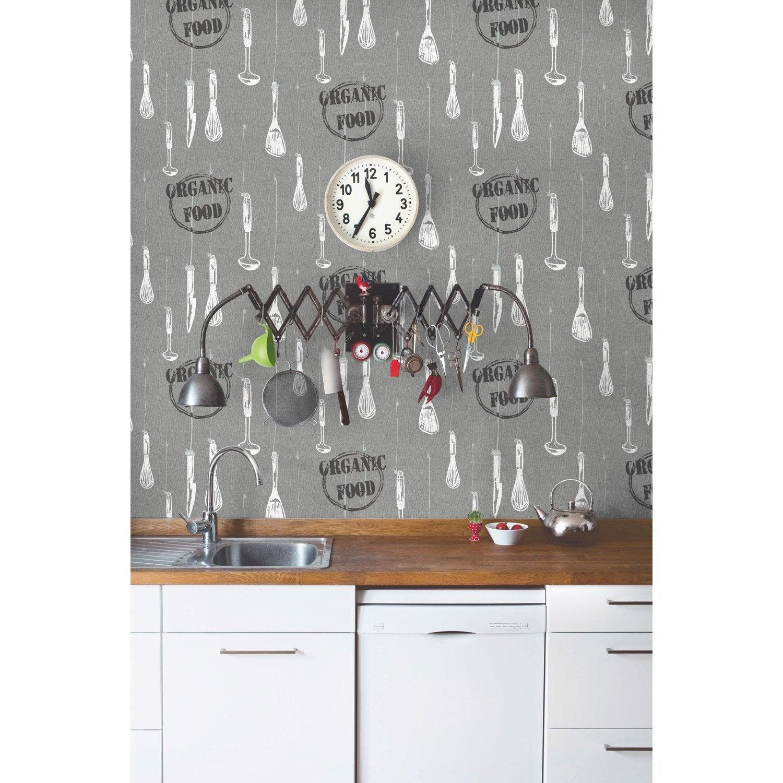 Papier peint organic food gris papier cuisine et bain   Leroy Merlin