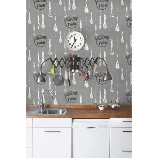 Papier Peint Cuisine Gris - Carreler une douche à l\'italienne