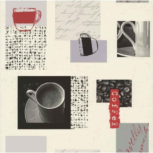 papier peint caf blanc gris papier cuisine et bain leroy merlin. Black Bedroom Furniture Sets. Home Design Ideas
