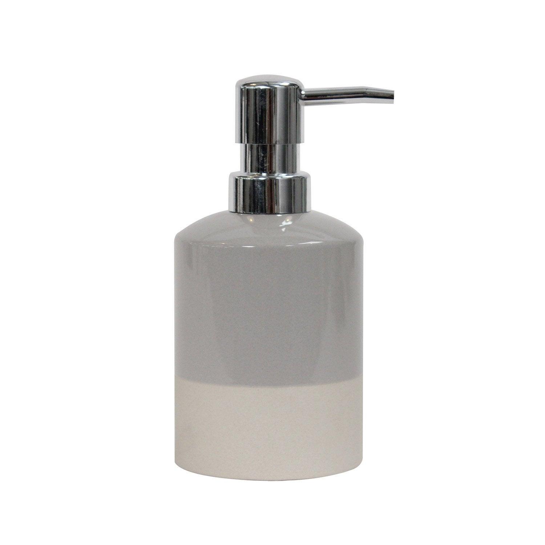 Distributeur de savon céramique Tania, beige et gris