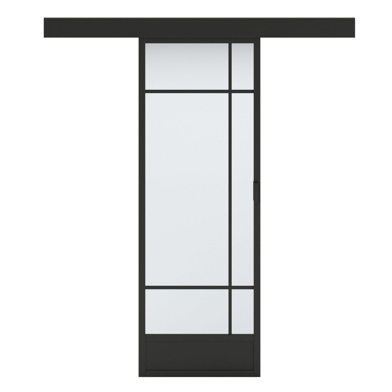 Porte Coulissante Vitree Noir Emma Artens H 204 X L 83 Cm Leroy