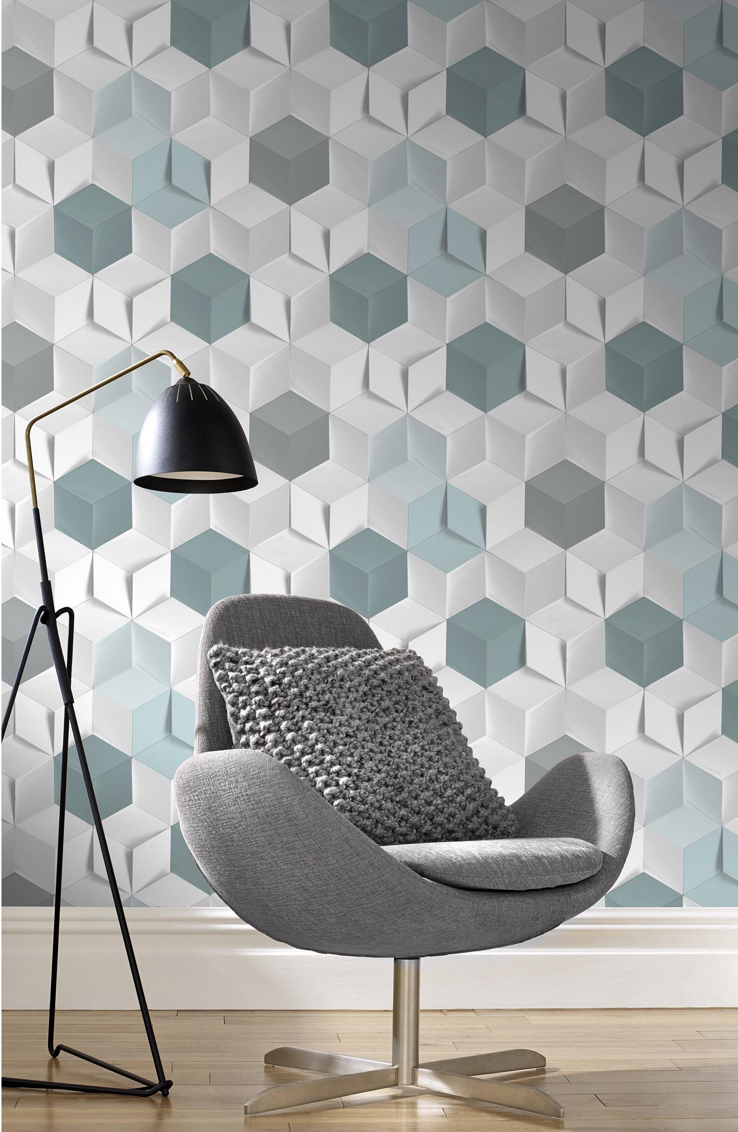 Papier peint intissé Hexagone 3d bleu
