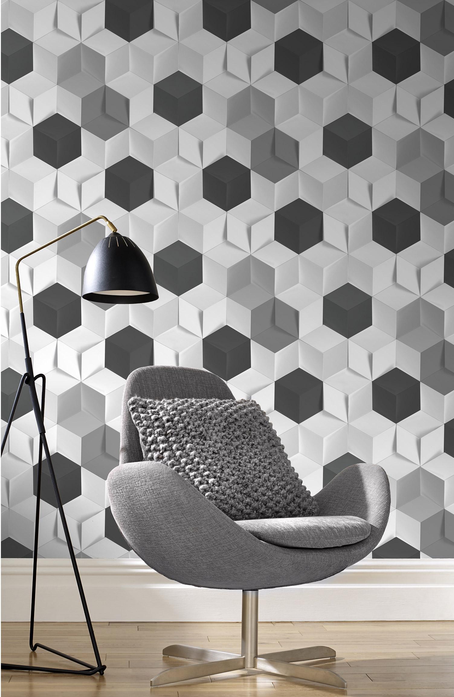Papier peint intissé Hexagone 3D blanc alu
