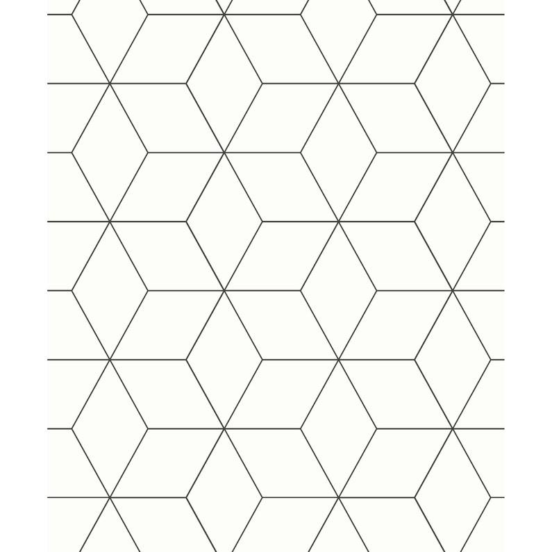 Papier Peint Vinyle Marqué à Chaud Ligne Hexagone Noir Et Blanc
