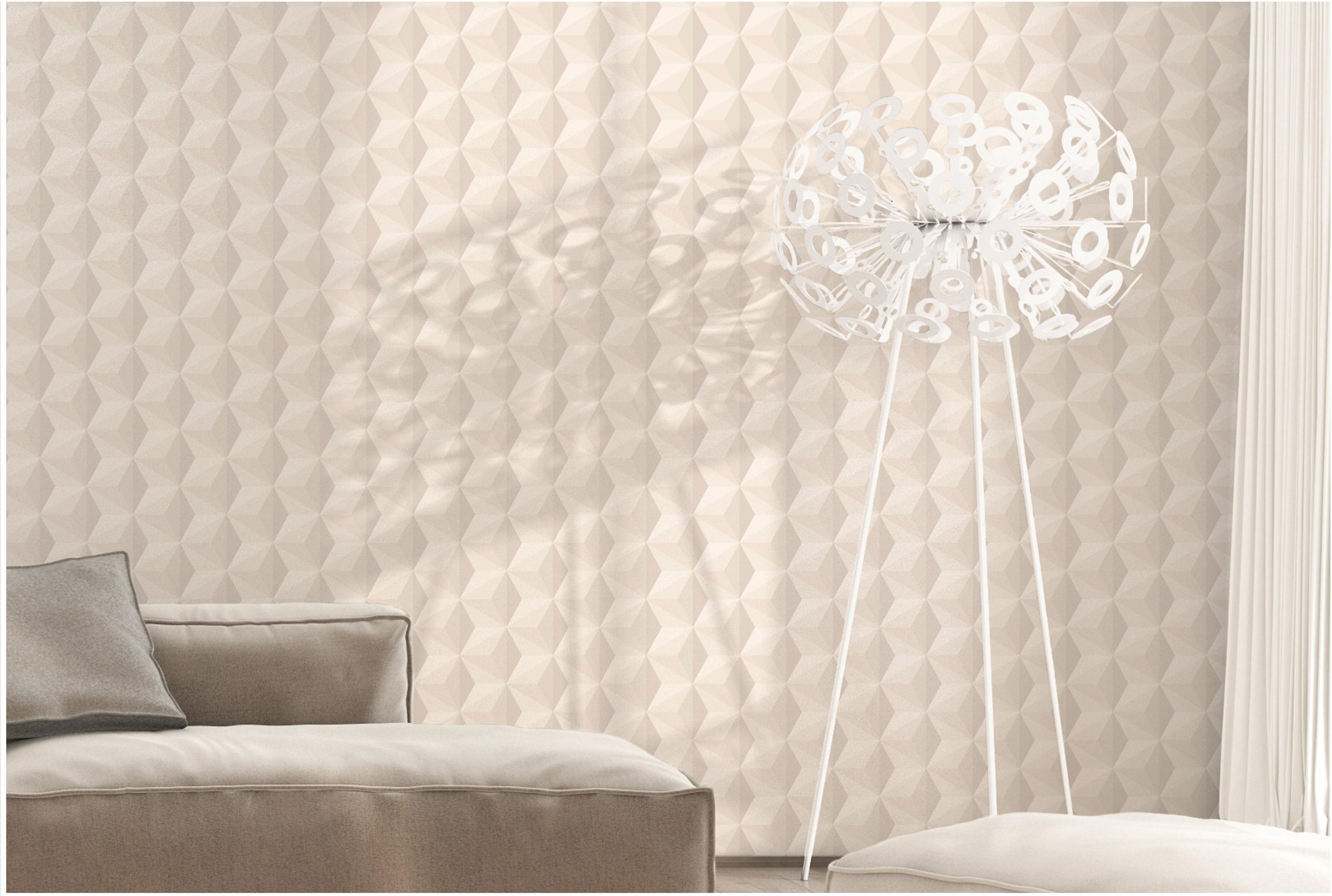 Papier peint vinyle Origami paillette gris argent