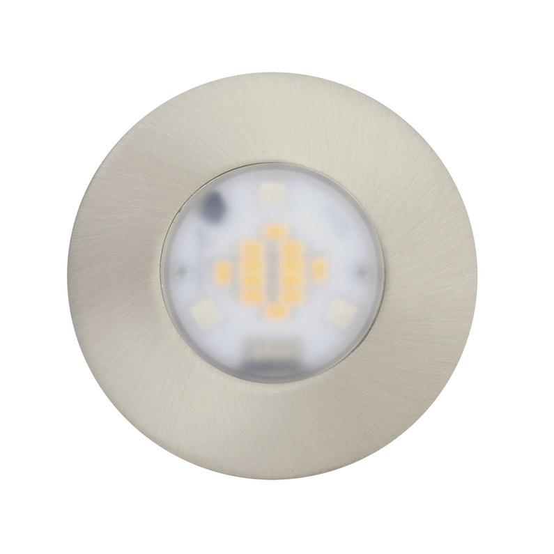 Kit 1 spot à encastrer salle de bains Idual fixe led JEDI LED intégrée acier