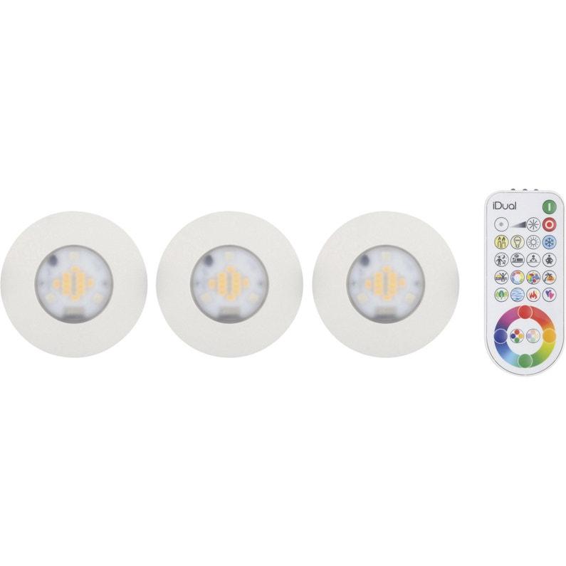 Kit 3 spots à encastrer salle de bains Idual fixe led JEDI LED intégrée  blanc