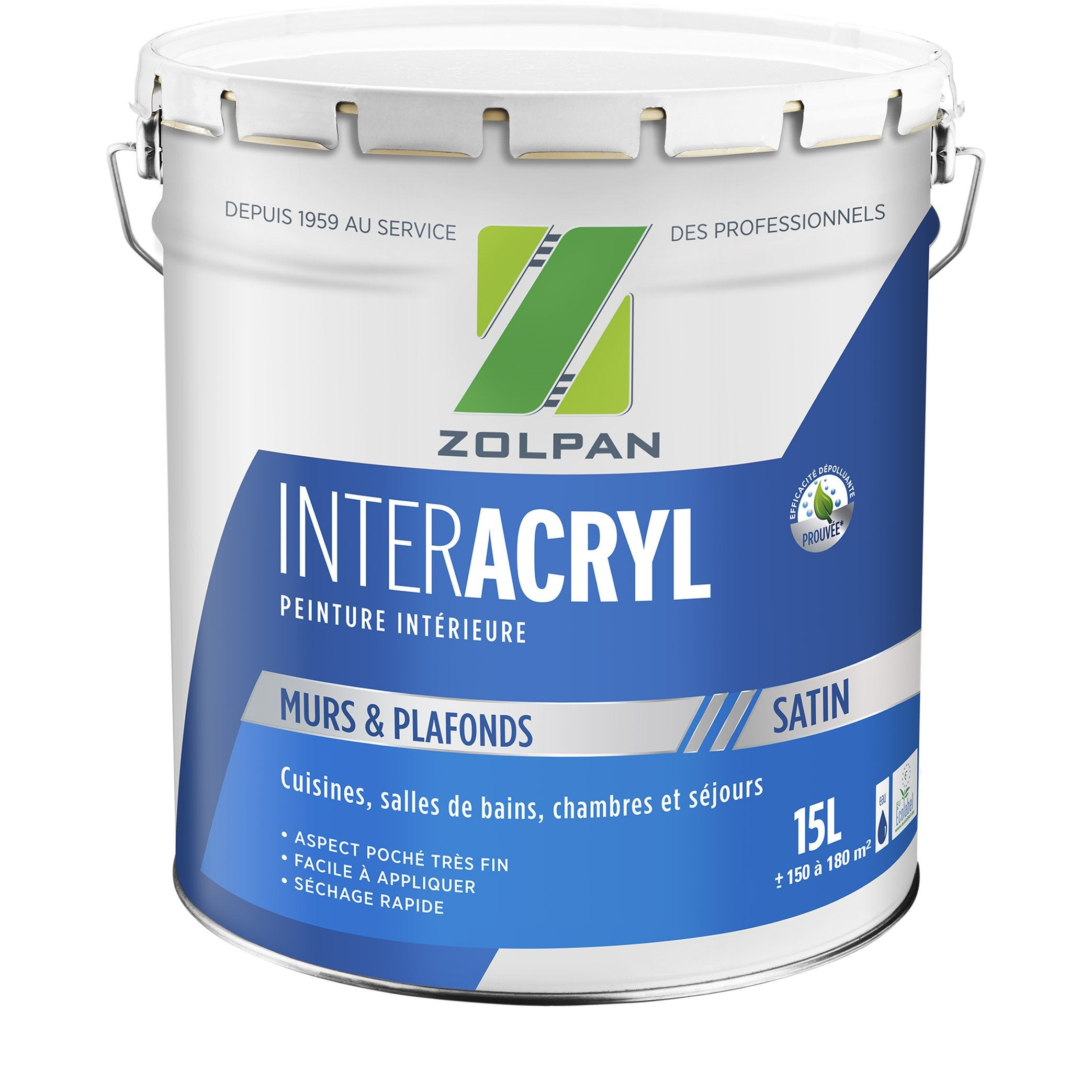 Peinture ZOLPAN mur et plafond intérieur Inter acrylique blanc satiné, 15 l | Leroy Merlin