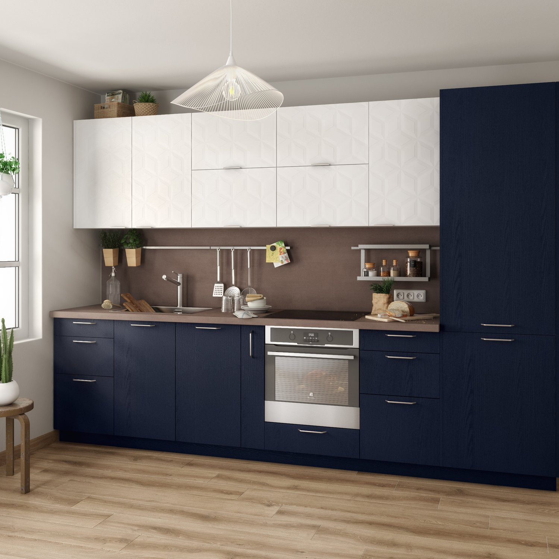 Idée Couleur Cuisine Blanche cuisine 2 couleurs, bleu et blanc | leroy merlin