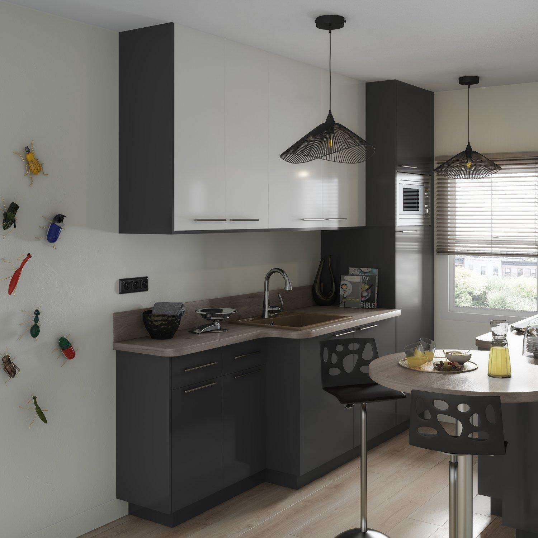 Petite cuisine gris et blanc avec plan snack | Leroy Merlin