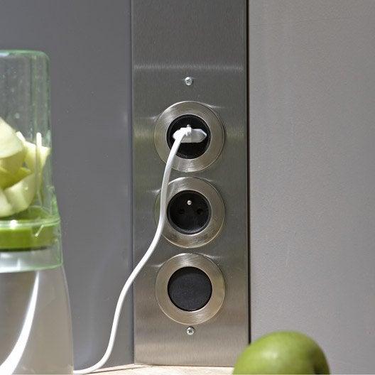 bloc 2 prises et interrupteur inox leroy merlin. Black Bedroom Furniture Sets. Home Design Ideas