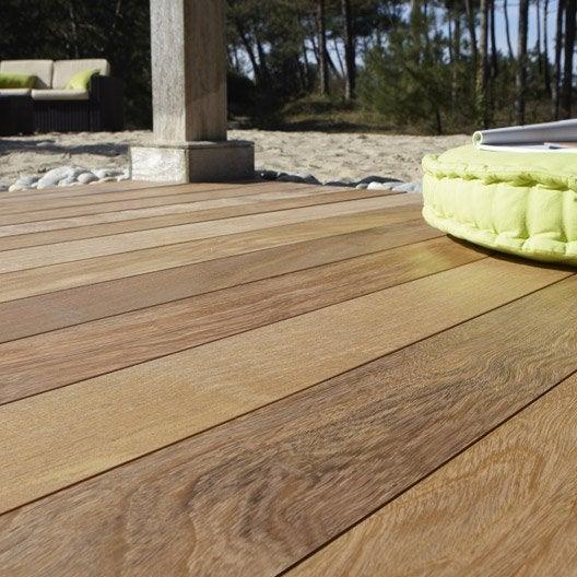 Planche bois tali lantawi naturel x cm x ep for Lame de terrasse bois leroy merlin