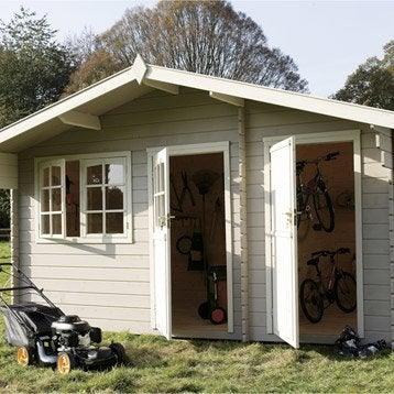 Abri de jardin en bois Eauze, 12.38 m², ép. 28 mm