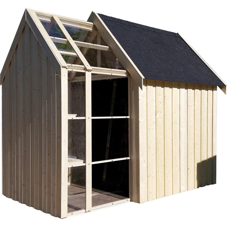 Abri de jardin bois Serre vertigo Ep.28 mm, 5.35 m² | Leroy Merlin