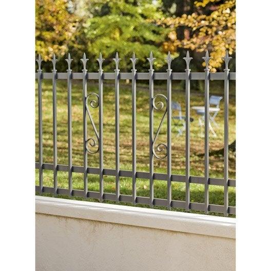 Cl ture aluminium tradi gris x cm leroy merlin for Cloture de jardin aluminium