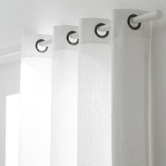 Rideau tamisant, Toile, blanc, l.135 x H.250 cm