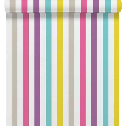 papier peint sur papier rayure love multicouleur larg m leroy merlin. Black Bedroom Furniture Sets. Home Design Ideas