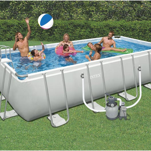 Piscine hors sol autoportante tubulaire intex l x l for Local technique piscine leroy merlin