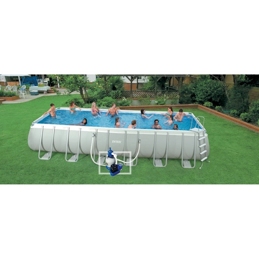Piscine hors sol tubulaire ultra silver intex l x l for Piscine tubulaire intex leroy merlin