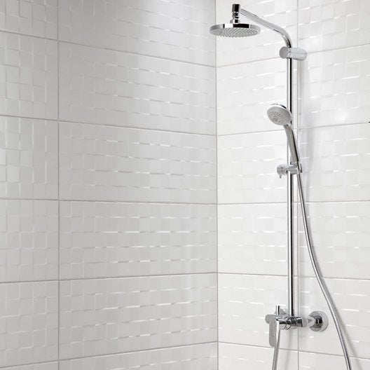 Fa ence mur blanc mat d cor relief cube x cm leroy merlin - Carrelage blanc relief ...