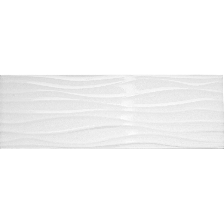 Faience Mur Blanc Brillant Decor Relief Wave L 25 X L 75 Cm Leroy