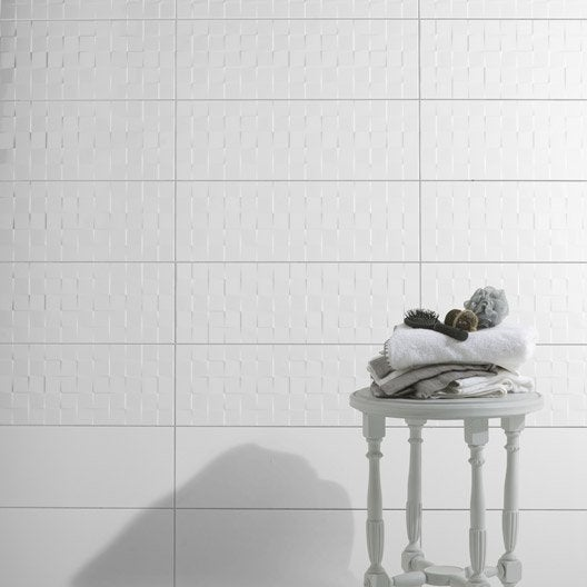 Fa ence mur blanc brillant d cor relief cube x for Carrelage relief