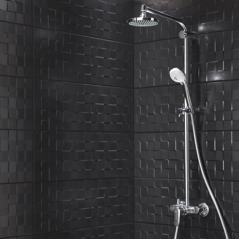 Faïence mur noir mat, Décor relief cube l.25 x L.75 cm | Leroy Merlin