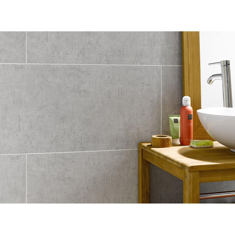 Lambris pvc beton clair artens x cm x - Beton mural salle de bain ...