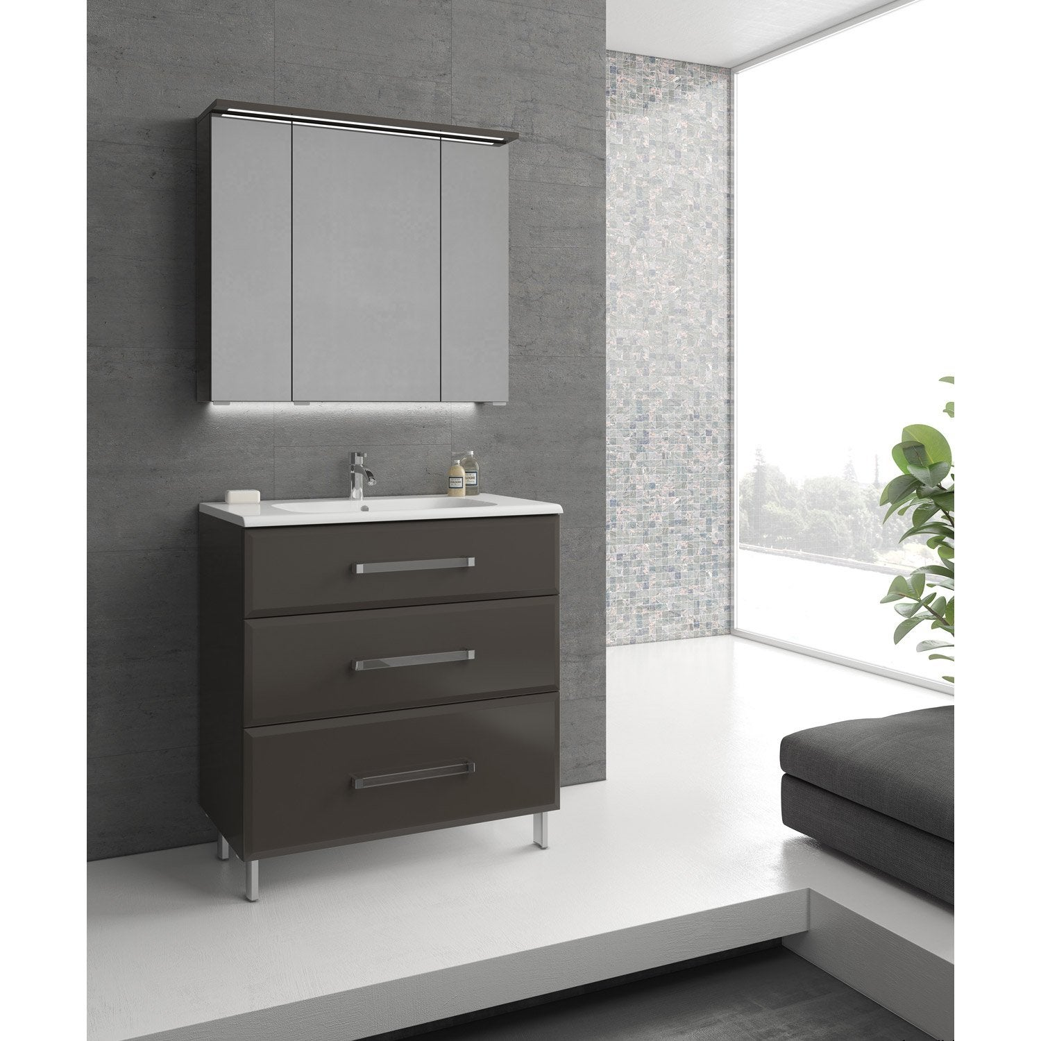meuble de salle de bains de 80 99 gris argent opale. Black Bedroom Furniture Sets. Home Design Ideas