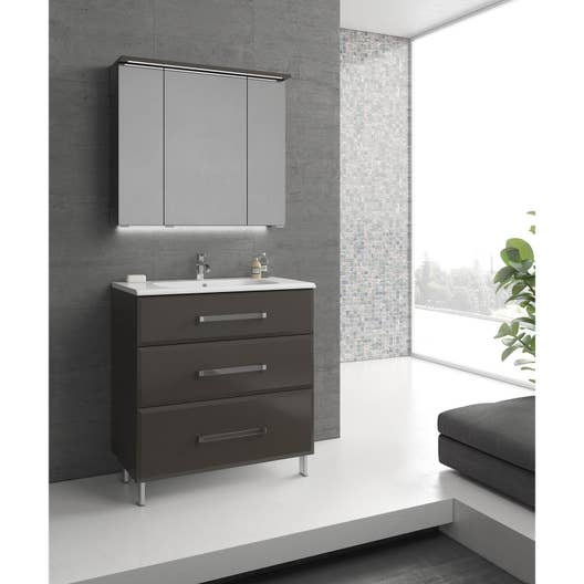 meuble de salle de bains de 80 99 gris argent opale leroy merlin. Black Bedroom Furniture Sets. Home Design Ideas