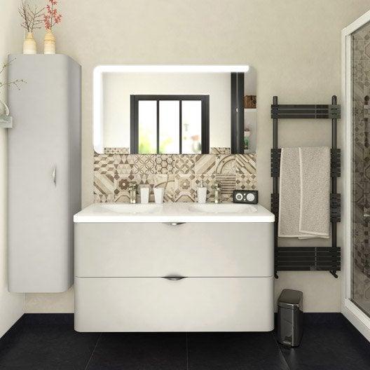Meuble de salle de bains de 100 119 blanc beige - Devis salle de bain leroy merlin ...
