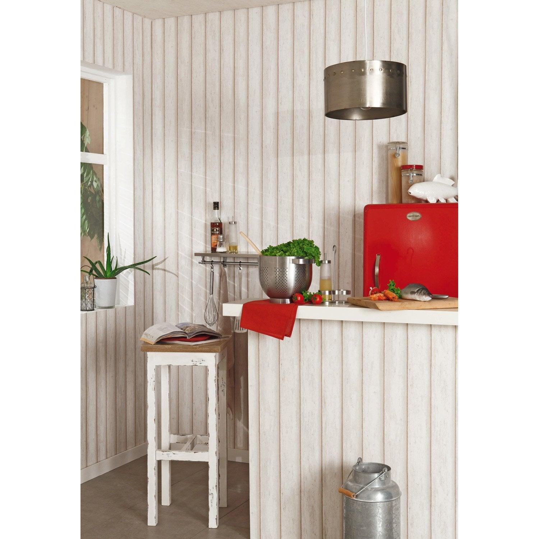 Papier peint cabane beige intissé cuisine et bain | Leroy Merlin