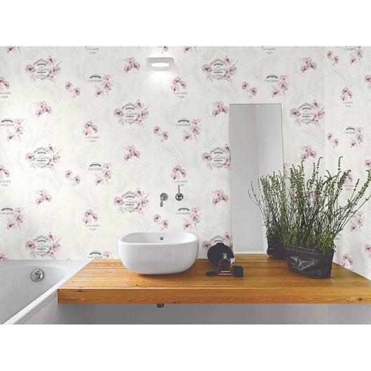 Papier peint lavande gris mauve papier cuisine et bain leroy merlin - Papier peint cuisine lessivable ...