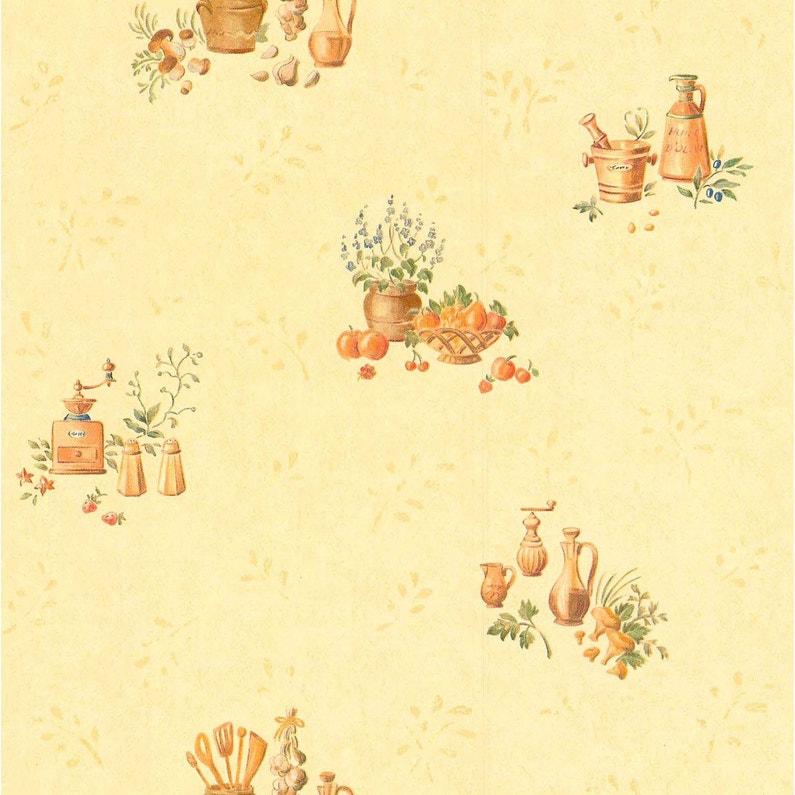 Papier peint expansé Cuisine rustique beige & jaune | Leroy Merlin