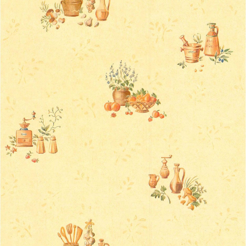 Papier peint expansé Cuisine rustique beige & jaune LUTECE | Leroy ...