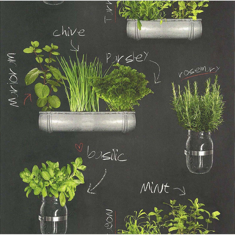 Papier Peint Plantes Aromatiques Gris Vert Papier Cuisine Et Bain - Herbes aromatiques en cuisine