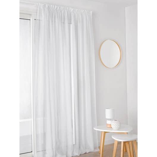 voilage transparent plein jour blanc x cm leroy merlin. Black Bedroom Furniture Sets. Home Design Ideas