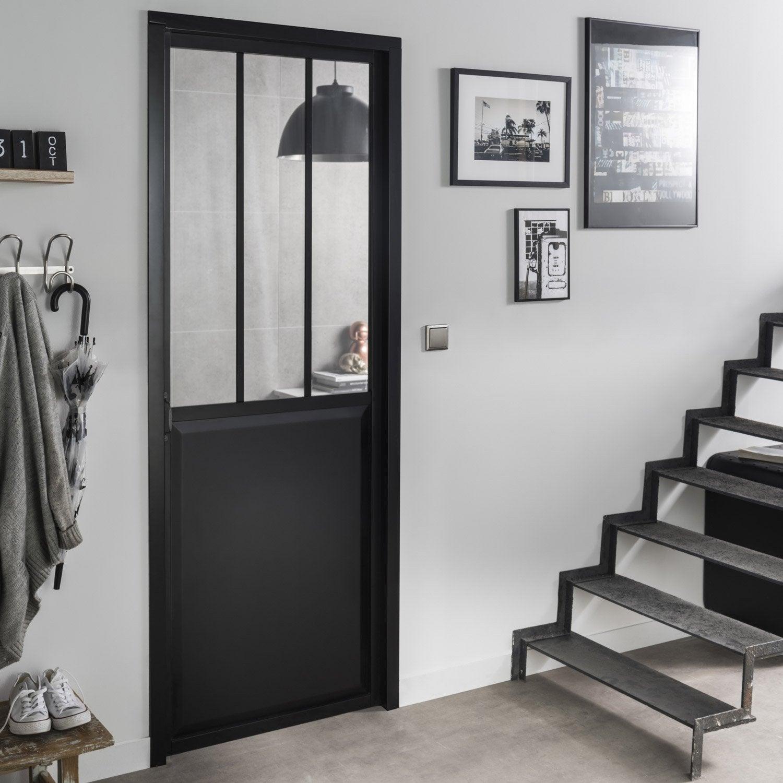 bloc porte atelier laqu e aluminium noir artens x cm poussant droit leroy merlin. Black Bedroom Furniture Sets. Home Design Ideas