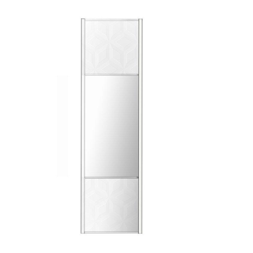 Porte De Placard Coulissante Origami Blanc  Miroir Spaceo L X H